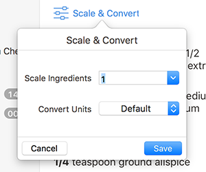 Paprika user guide mac edition scaling you can scale the ingredients of a recipe by clicking on the scale convert button next to the ingredients heading forumfinder Gallery